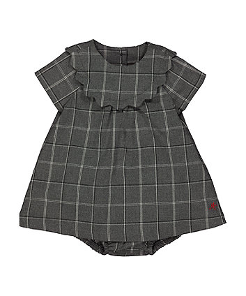 Mothercare Grey Checked Dress And Knickers Set