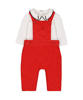 Mothercare Red Cord Dungarees And Bodysuit Set