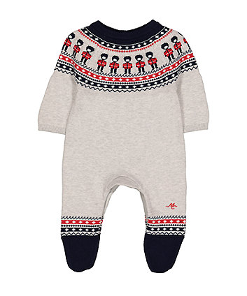 Mothercare Heritage Knitted Soldier Fairisle All In One