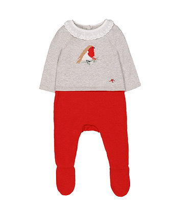 Mothercare Heritage Robin Knitted Mock All In One