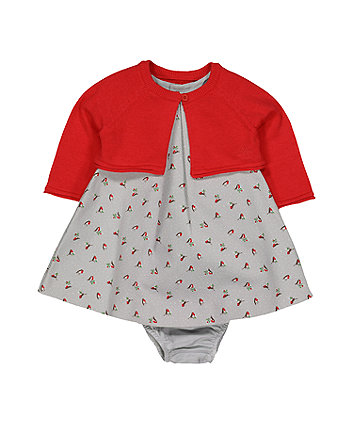 Mothercare Heritage Robin Dress, Cardigan And Knicker Set