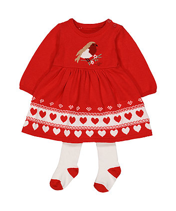 Mothercare Heritage Knitted Robin Dress And Tights Set