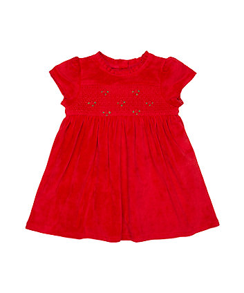 Mothercare Red Rose Smock Dress