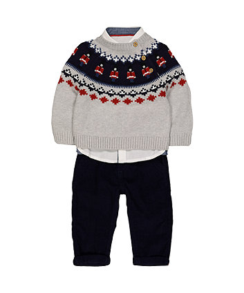 Mothercare Trousers, Shirt And Jumper Set