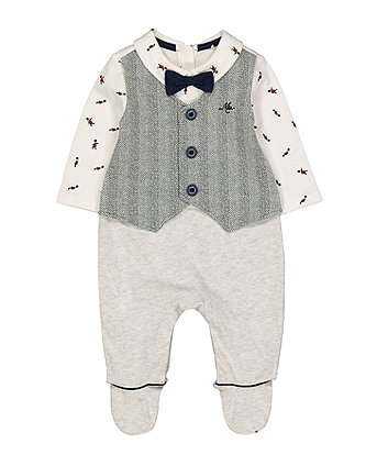 Mothercare Mock Waistcoat All In One