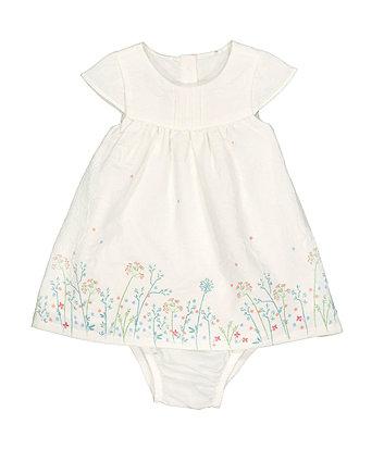 Mothercare White Floral Border Dress