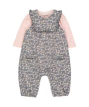 Mothercare Grey Floral Dungarees And Bodysuit Set