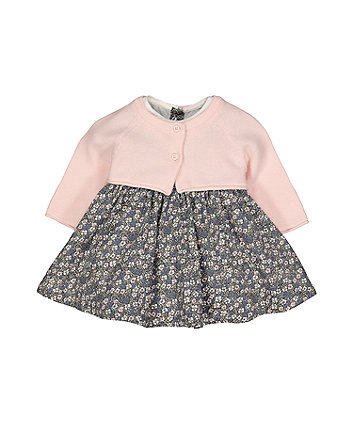 Mothercare Ditsy Floral Cord Dress And Cardigan