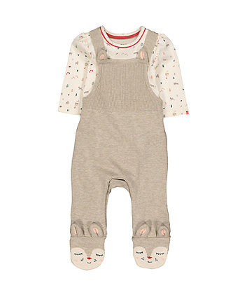 Mothercare Knitted Deer Dungarees And Bodysuit Set