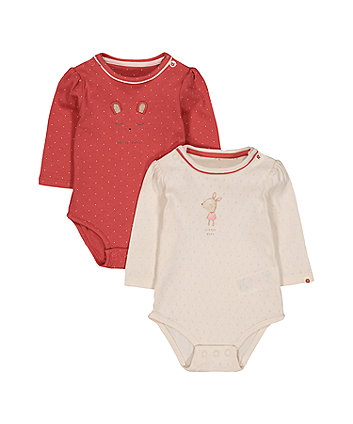 Mothercare Pink And Cream Deer Bodysuits - 2 Pack