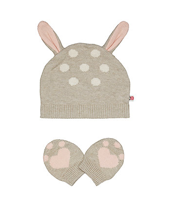 Mothercare Knitted Deer Hat And Mitts