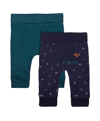 Mothercare Stripe And Camping Joggers - 2 Pack