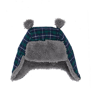 Green And Navy Check Trapper Hat