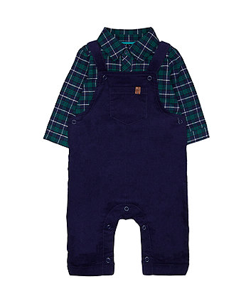 Navy Cord Dungarees And Check Bodysuit Set