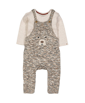 Mothercare Knitted Bear Dungarees And Bodysuit Set