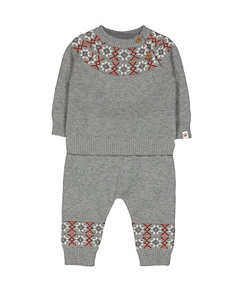Mothercare Grey Fairisle 2 Piece Set