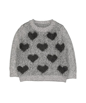 Grey Heart Knit Jumper