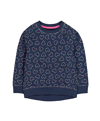Mothercare Navy Heart Sweat Top
