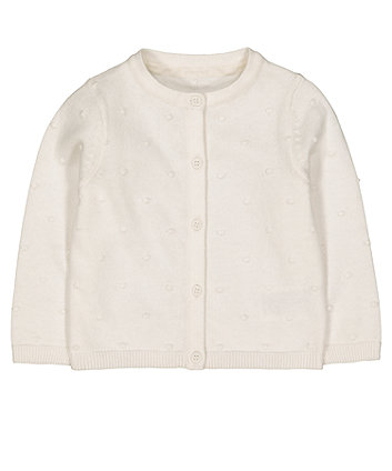 Mothercare White Bobble Knitted Cardigan