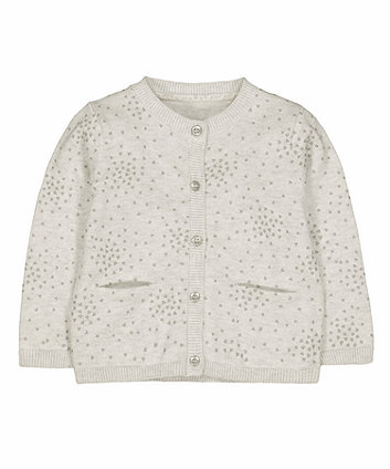 Mothercare Grey Glitter Heart Knitted Cardigan
