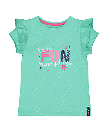 Mothercare Green Fun Frill T-Shirt