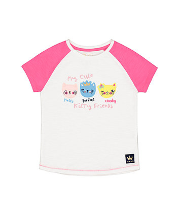 Mothercare White Raglan Kitty Friends T-Shirt