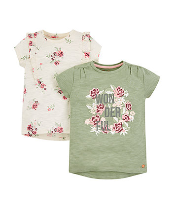 Mothercare Wonderful Floral T-Shirts - 2 Pack