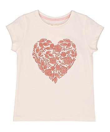 Mothercare Cream Floral Heart T-Shirt