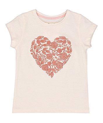 Cream Floral Heart T-Shirt