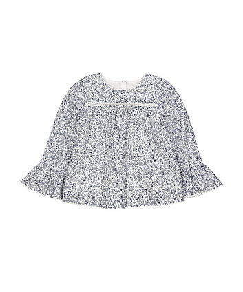 Ditsy Floral Bell-Sleeve Blouse