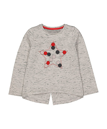 Grey Star Pompom T-Shirt