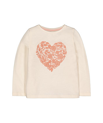 Cream Flower Heart T-Shirt
