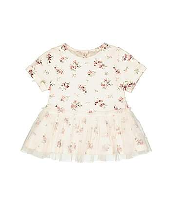 Mothercare Cream Floral Dress
