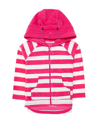 Mothercare Pink Stripe Bunny Fleece Hoodie