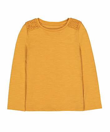 Mothercare Mustard Crochet Shoulder T-Shirt