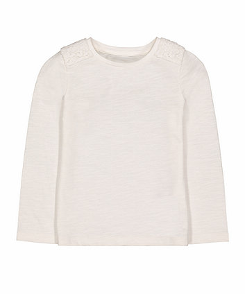 Mothercare White Crochet Shoulder T-Shirt