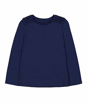 Mothercare Navy Crochet Shoulder T-Shirt