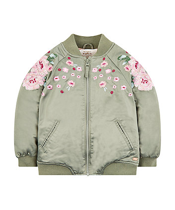 Khaki Embroidered Bomber Jacket
