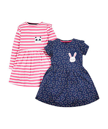 Mothercare Navy And Pink Dresses - 2 Pack