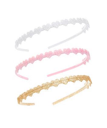 Mothercare Glitter Heart Hairbands - 3 Pack