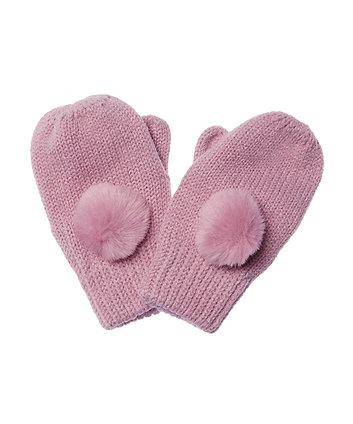 Pink Fur Pom Mittens