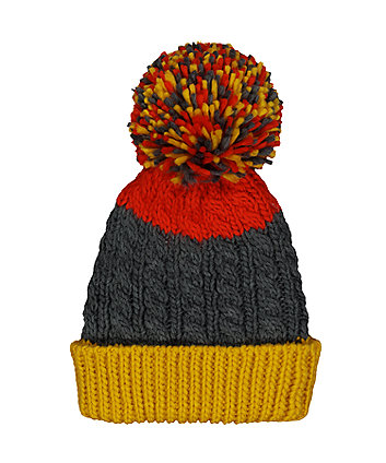 Mustard, Grey And Red Knitted Beanie