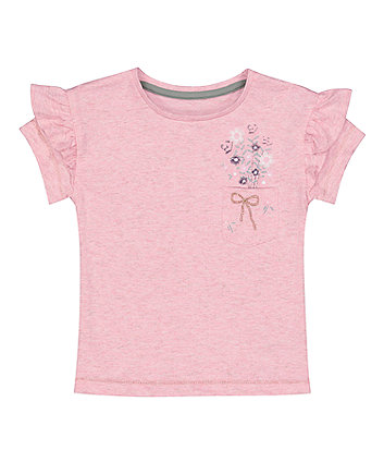 Pink Pocket T-Shirt With Frills