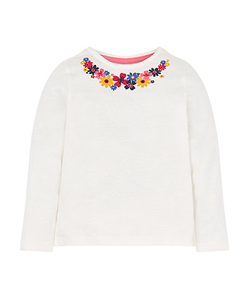 Mothercare Floral Neck T-Shirt