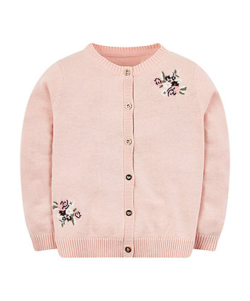 Pink Floral Knitted Cardigan