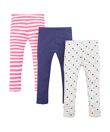 Mothercare Spot And Stripe Leggings - 3 Pack
