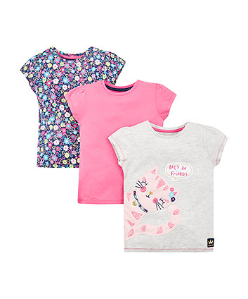 Mothercare Let'S Be Friends Cat T-Shirts - 3 Pack