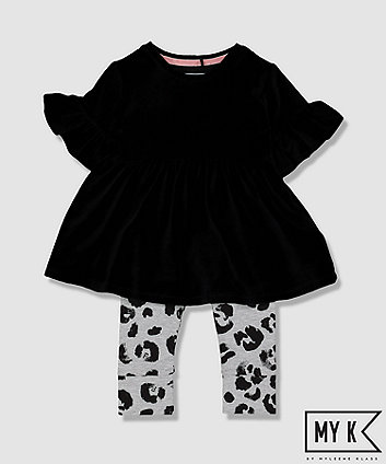 Mothercare My K Black Velour Tunic And Leggings Set