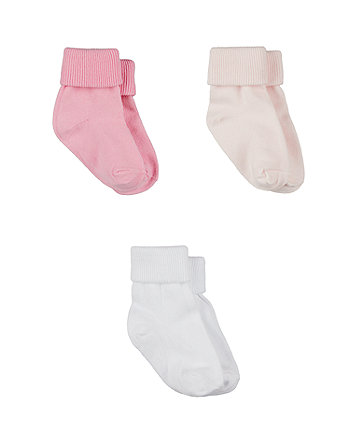 Pink Turn-Over-Top Socks - 3 Pack
