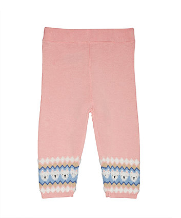 Pink Fairisle Knitted Leggings